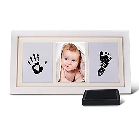 Osup Bilderrahmen Geschenke für Baby,Baby Handabdruck und Fußabdruck -Set für Jungen und Mädchen mit schadstofffreier Farbe, Bilderrahmen Geschenke für Baby, Ungiftig Stempelkissen, Baby Fußabdruck
