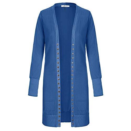 SELENECHEN Damen Cardigan Langarm Strickjacke Casual Cardigan Knopf V-Ausschnitt Outwear Mantel Herbst Winter (Blau, M) Herbst Winter Mantel