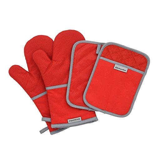 Kitchenaid SET 2x Ofen-Handschuhe 2x Topflappen, Silikonbeschichtet (2x Oven Mitt&Pott Holder) ROT