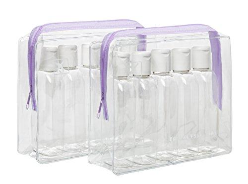 2x Urlaub Reise Flaschen Packungen-8x 100ml transparent Kunststoff Flaschen & 6x 15ml Gläsern-Customs zugelassen-Lila