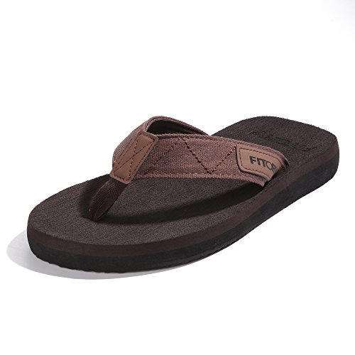 FITORY Men's Flip-Flops Arch Support Thongs Comfort Slippers for Beach Size 6-12
