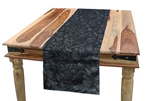 ABAKUHAUS Nautisch Tischläufer, Coral Shell Seepferdchen, Esszimmer Küche Rechteckiger Dekorativer Tischläufer, 40 x 180 cm, Anthrazit grau und Weiß