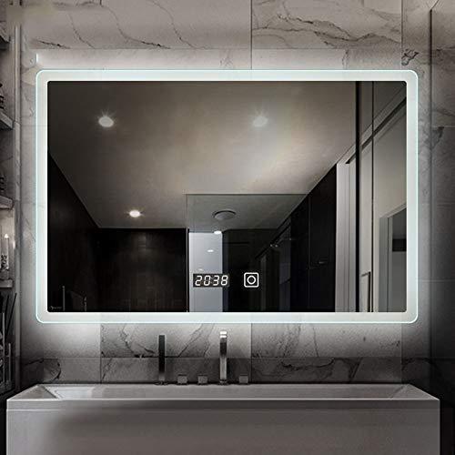 espejo de baño LED Iluminado, Espejo Inteligente de Pared, indicador de Tiempo, Interruptor de Sensor, Horizontal