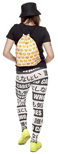 Kukubird Verschiedene Print Einfach Rucksack Mit Kukubird Staubbeutel Emoji Yellow