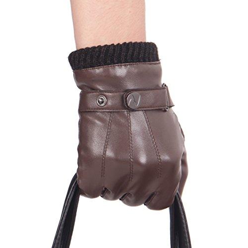 Nappaglo ® Männer PU Lederhandschuhe Touchscreen - Handschuhe Mit Langen Fleecefutter Winter Fahren (Leder-wolle-handschuhe)