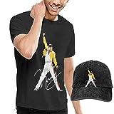 Photo de Thimd Hommes T-Shirts à Manches Courtes et Casquettes de Baseball,Freddie Mercury T Shirts and Washed Denim Baseball Dad Hat Black par Thimd