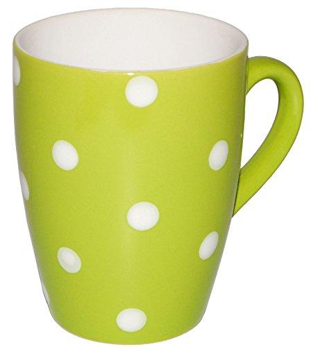 alles-meine.de GmbH 4 Stück _ Henkeltassen / Kaffeetassen -  Punkte - Grün & Weiß  - groß - 300...