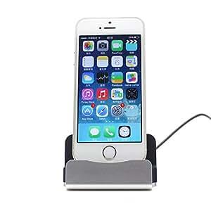 Eximtrade Caricabatterie Docking Station Supporto Telefonico per Apple iPhone 5/5s/6/6s/6 plus/6s Plus/7/7 Plus, iPod (Argento)