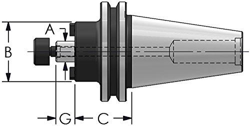 ultra-dex ct40-sm100–200cat40Shell Mill Halter, symmetrisch, um G6, 2,5cm Pilot Durchmesser, 5,1cm Projektion
