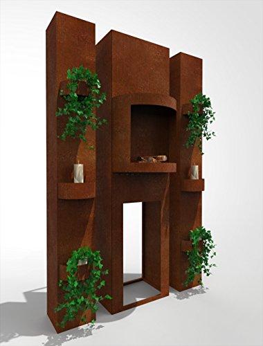 Gartenkamin Terrassenkamin Kaminofen Terrassenofen Rost Edelrost 190 cm x 50 cm