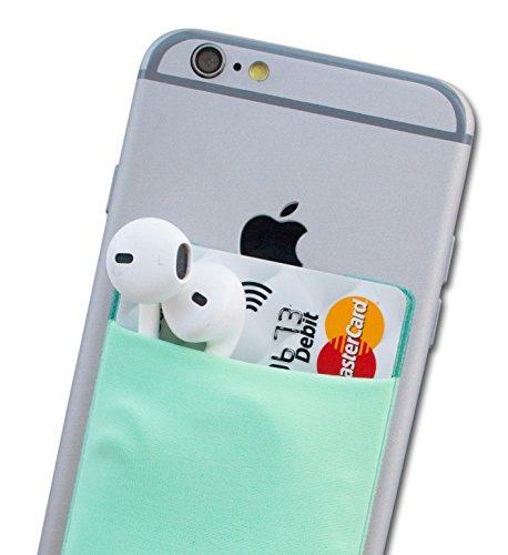 Atkolé Wallet - Cover iPhone 7 Plus e Samsung Galaxy S7 Edge Portafoglio Adesivo per Cellulare con nastro 3M (Nero) un Porta Carta di Credito, Porta Auricolari Turchese