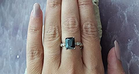 Emerald cut ring,rectangle black ring,onyx ring,sterling silver ring,brillant ring,wedding ring,engagement