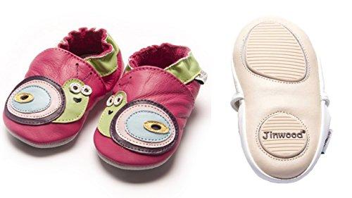 Jinwood - snail fuchsia - mini shoes - Schnecke - Hausschuhe - Lederpuschen - Krabbelschuhe - by amsomo Fuchsia