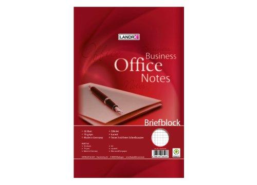 LANDRE 100050243 Briefblock Office 10er Pack A4 50 Blatt kariert 70 g/m² 4fach gelocht Schreibblock Briefblöcke Briefpapier