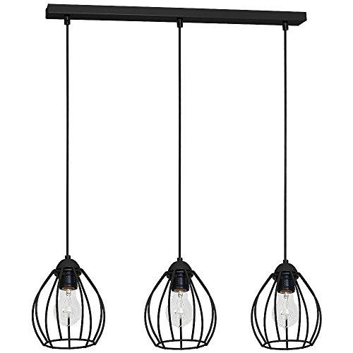 Drahtgestell Pendelleuchte 3-flammig E27 Industrie Design Schwarz Küchenleuchte Hängelampe Esszimmer