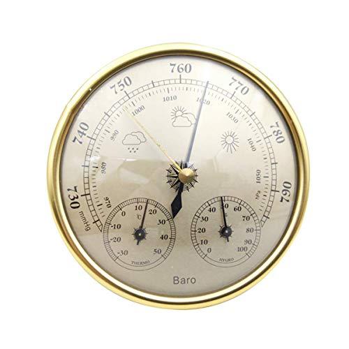 Morning May 3 in 1 Gold Luftthermometer innen und außen Hygrometer hohe Präzision Atmosphärische Manometer Vorhersage Pfirsich