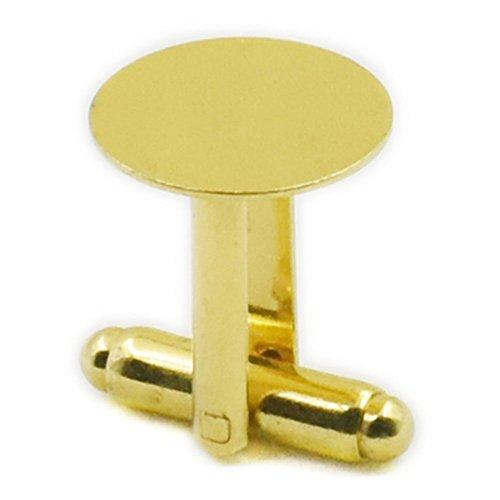 fujiyuan 20 Lot de 10 paires 12 mm 1/5,1 cm boutons de manchette Vierge cuivre Pad rond Nickel or, Cuivre, doré, 12mm 1/2\\
