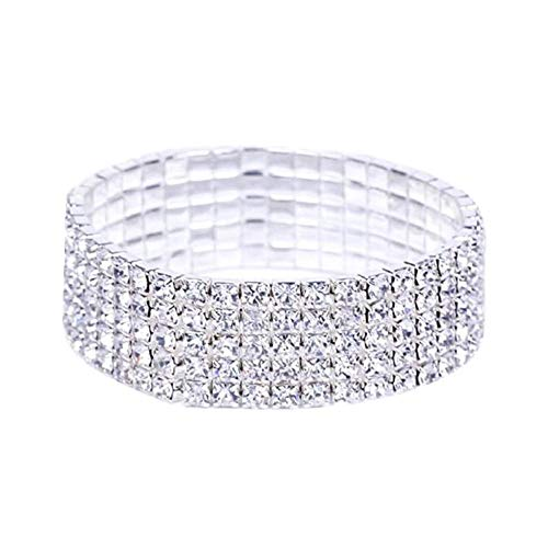 ODJOY-FAN 5 Reihe Strass Kristall Armband Elastisch Damen Armreifen Justierbar Armreif Braut Frau Handketten Silber Armbänder(Silber,1 PC) (Auf Opal Ohrringe Clip)