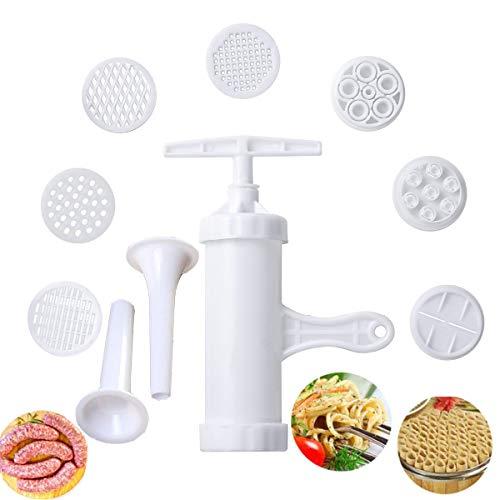 Pasta Maker Manual Noodle MakerPress Vegetables Juice with 9 Pressing Moulds for Making Spaghetti Fettuccine Noodles