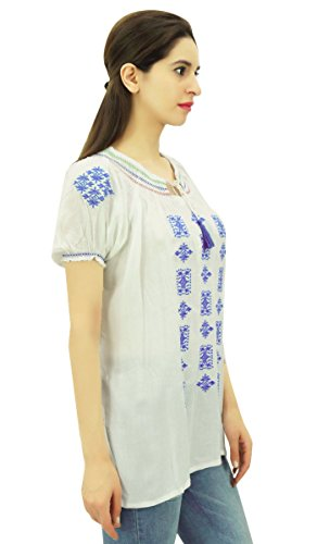 Damen Top Rayon Stoff Kurta Lässige Tunika Short Sleeve gestickte Wear Weiß Und Blau