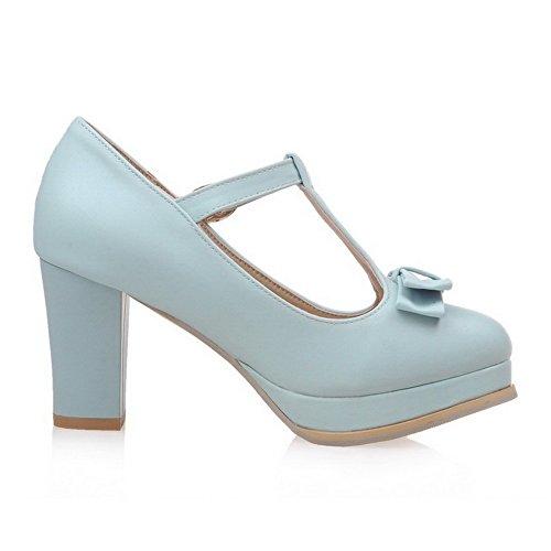 AllhqFashion Femme Boucle à Talon Haut Pu Cuir Couleur Unie Rond Chaussures Légeres Bleu
