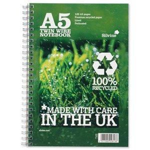 Silvine Réf R103 Premium Cahier en papier recyclé Reliure intégrale Ligné 120 pages 80 g/m² A5 Lot de 5 (Import Royaume Uni)