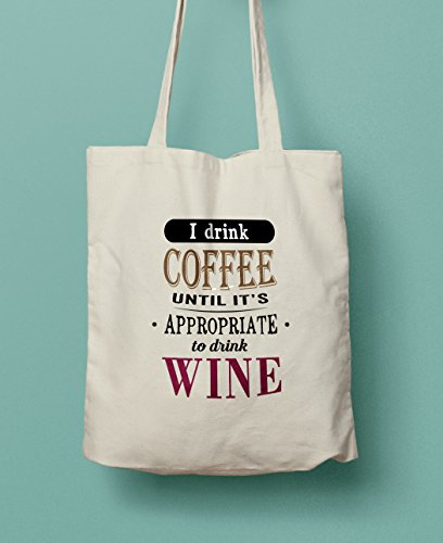 Coffee / Wine Lovers Canvas Shopper Tote Bag