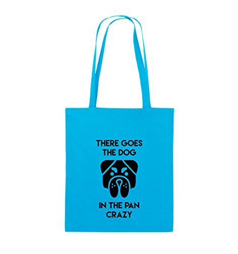 Comedy Bags - THERE GOES THE DOG IN THE PAN CRAZY - Jutebeutel - lange Henkel - 38x42cm - Farbe: Schwarz / Pink Hellblau / Schwarz