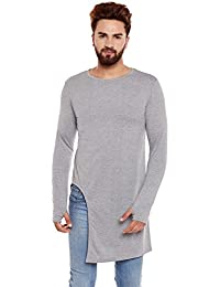 Chill Winston Grey Color Long Sleeve Longline Cotton Thumb Insert T-shirt For Men