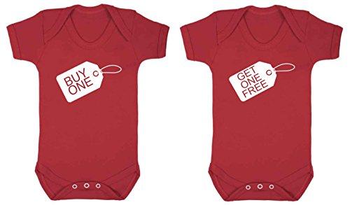 Universal Wear - Bodi para niños, para gemelos, 2 unidades blanco rosso Talla:0-3 Meses