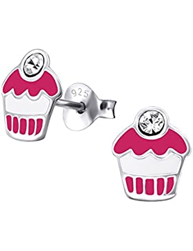 Laimons Kids Kinder-Ohrstecker Kinderschmuck Muffin Pink, Weiß, Lila Glitzer Sterling Silber 925