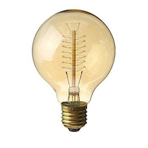 MEIQIQ Vintage Edison Glühlampen G95 Wickeldraht 40W Edison Retro Wolframglühbirne industrielle Windstange mittlerer Globus Altmodischer Stil Retro Dekorative Leuchtmittel - Globus Mittlere Schraube