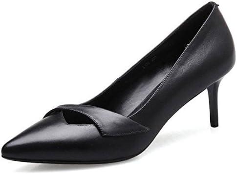 DKFJKI Tacones Altos De Cuero Para Mujeres Consejos Poco Profundos Tacones De Aguja Zapatos De Trabajo Informal