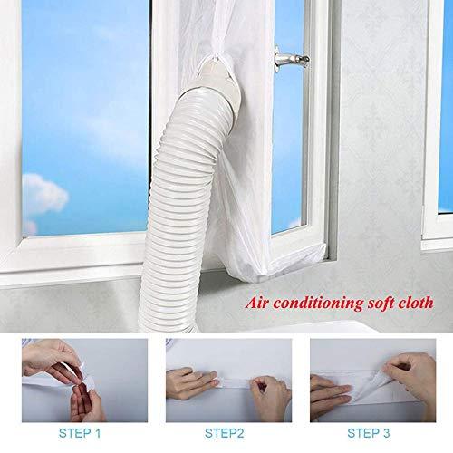 Roebii Universal Fensterdichtung, Air Lock Fensterdichtung für Mobile Klimaanlagen & Ablufttrockner Heißluftstop, Luftaustauschschutzgitter mit Reißverschluss & Hakenband