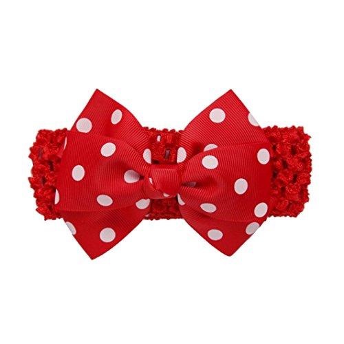 Stirnbänder Longra Mädchen die Vergoldung Stirnbänder Bowknot Haarschmuck für Mädchen Kinder Haarband (0-4 Jahre ) (Red) (Hat-stoff Red)