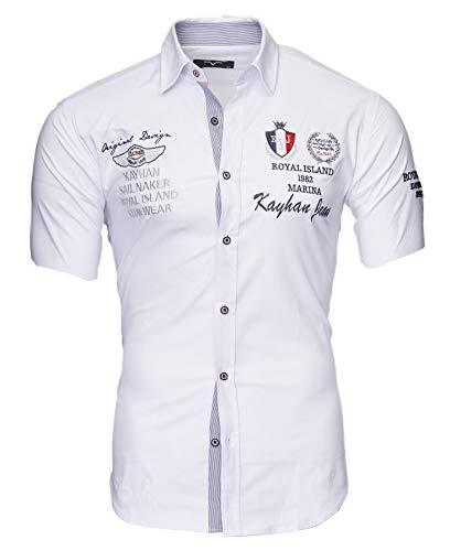 Kayhan Herren Hemd Monaco Kurzarm Weiß L