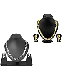 Zeneme Gold Plated Fashion Party Wear Necklace Set With Earrings For Women Set Of 2