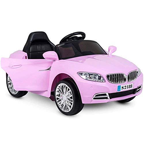 BAKAJI Auto Elettrica per Bambini Coupè Sport Cabrio Batteria 6V con Porte Automatiche 3 velocità Musica Luci MP3 Slot SD Card Sedile Monoposto e Telecomando (Rosa)