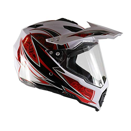 GL- Home Casco Cross con Visiera, Fodera Removibile/Ventilazione Regolabile, Casco Moto Cross Integrale MTB Motocross Casco Moto per Downhill Enduro Quad ATV