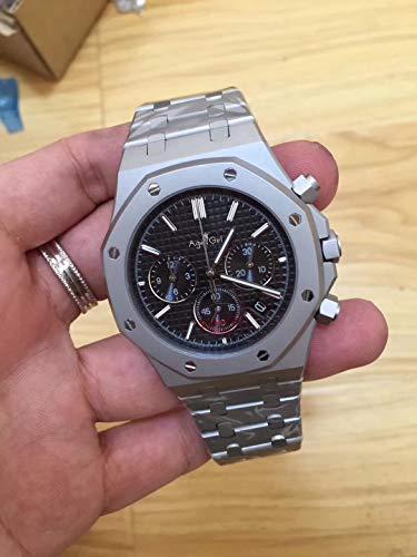 WDXDP Uhr Top Luxury Herrenuhr Quarz Chronograph Saphir Edelstahl Zurück Glas Luminous Black BlueRose