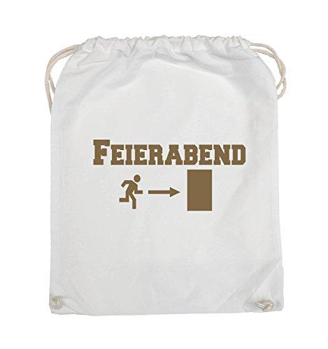 Comedy Bags - FEIERABEND - EXIT - Turnbeutel - 37x46cm - Farbe: Schwarz / Pink Weiss / Hellbraun
