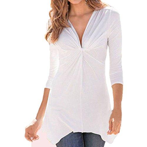ZANZEA Femmes Sexy Col V Tunique Hauts Chemise Manches 3/4 Irrégulière Longue Shirts En Vrac Top Blanc