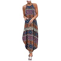 Zrom Women Dress Fashion,Fashion Women Vintage Bohemians Sleeveless Strappy Printed Maxi Dress