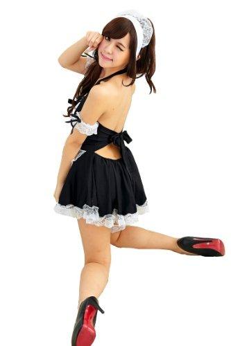 Hohe Qualität Sexy Schwarz Weiß Französisch Maid Kostüm Lolita, Kleid & Kopfbedeckung Halloween N12