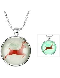 AnaZoz Joyería de Moda Collar Aleación Verde Fluorescente Colgante Collar Redondo Original Design Lucky Deer Colgante Para Mujer Verde Fluorescencia