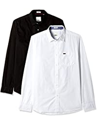 People Men's Solid Slim Fit Cotton Casual Shirt (Pack of 2)