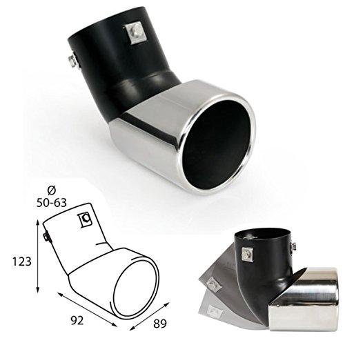Preisvergleich Produktbild KMHER096 - Edelstahl Auspuffendrohr Sport-Sound Auspuffblende Endrohr zum anschrauben beweglich