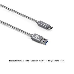 Elzo - Cavo USB Tipo C Rivestito in Nylon Intrecciato, 3A 1,8M/6ft Cavo di Ricarica USB 3.0 Trasmissione e Ricarica per Huawei P9, Nexus 5X/6P, OnePlus 2/3, Nintendo Switch, ChromeBook Pixel e altri