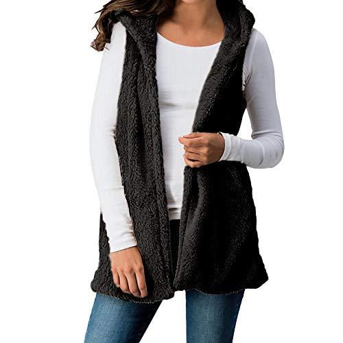 IMJONO Frauen Lady Faux Fell Solid Kapuzen Outwear ärmellose Taschen warme Weste Weste (EU-40/CN-2XL,Schwarz)