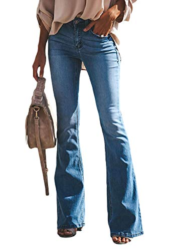 OranDesigne Schlaghosen Damen Jeans Slim Fit Jeanshose Stretch Skinny Hosen Casual Jeanshose B Hellblau XXL